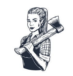 lumberjack woman with axe female axeman for logo vector image