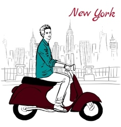 Man on scooter vector