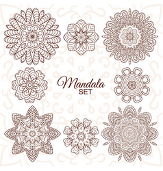 Mandala set round decorative ornaments for vector