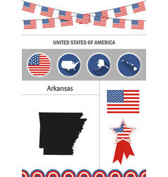 Map of arkansas set of flat design icons vector