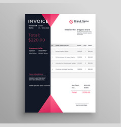 Modern invoice template design in pink theme vector