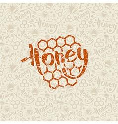 Natural honey seamless pattern and emblem vector image