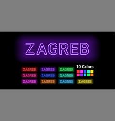 Neon name of zagreb city vector