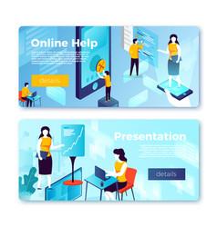 online help presentation service banners vector image
