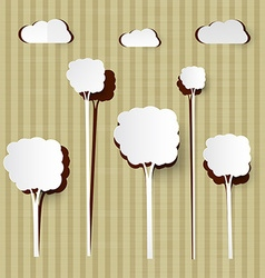 Paper Cut Trees and Clouds on Cardboard Background vector image
