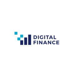 pixel finance digital bar chart logo icon vector image