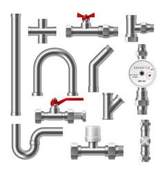plumbing fittings adapters valves and flow meter vector image