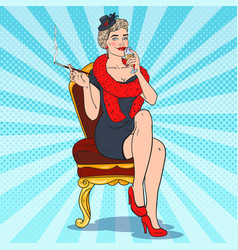 pop art smoking woman with glass champagne vector image
