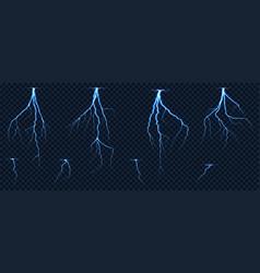 Realistic lightnings zig zag on checkered vector