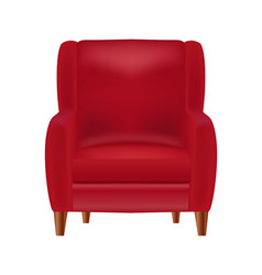 realistic red armchair front view isolated o vector image