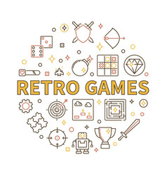 retro games round in outline vector image