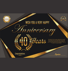 Retro vintage anniversary background 40 years vector
