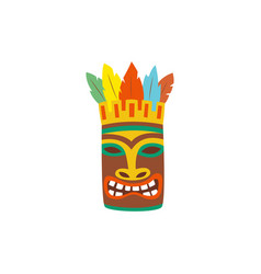 scary wooden tiki totem mask icon cartoon vector image