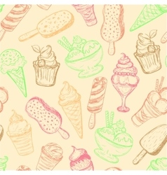 seamless pattern hand-drawn ice cream vector image