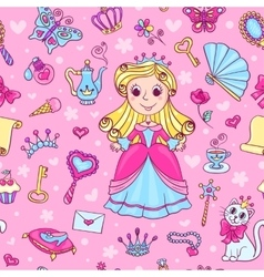 Seamless pattern with cute little princess vector image