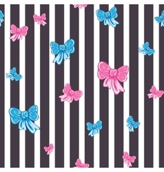 Seamless striped pattern with bows vector image