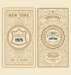 set of 2 vintage labels with floral ornaments vector image