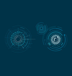 set of interfaces isolated on dark blue backdrop vector image