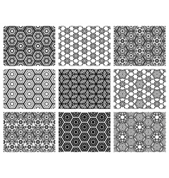 Set of nine seamless geometric patterns vector image