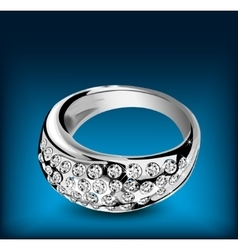 Silver ring with some diamonds vector image