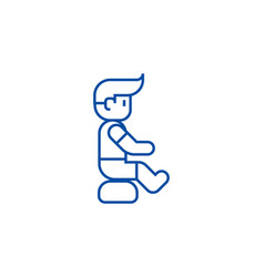 sitting kid line icon concept sitting kid flat vector image