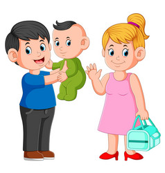 smiling mother and father holding their newborn ba vector image