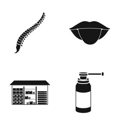 spine tongue and other web icon in black style vector image