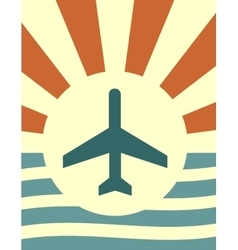 sun rays backdrop with plane icon vector image
