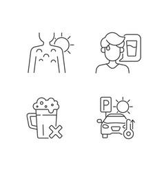 Sunstroke precaution linear icons set vector