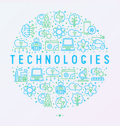 technologies concept in circle with thin line icon vector image