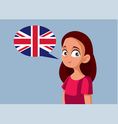 teen girl speaking english cartoon vector image