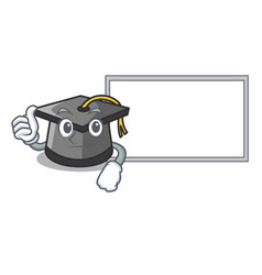 thumbs up with board graduation hat character vector image