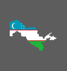 Uzbekistan flag and map vector