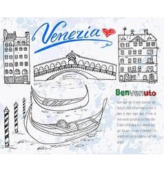 venice italy sketch elements hand drawn set vector image
