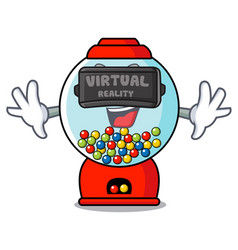 Virtual reality gumball machine mascot cartoon vector