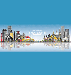 welcome to thailand city skyline with color vector image