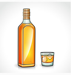 Whiskey bottle with glass vector