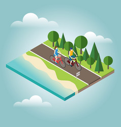 woman and man cycling on countryside summer sunny vector image