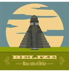 Belize landmarks retro styled image vector