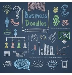 Doodle business set vector image