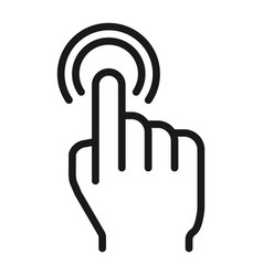 double tap line icon touch and hand gestures vector image