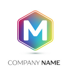 letter m logo symbol in the colorful hexagonal on vector image vector image