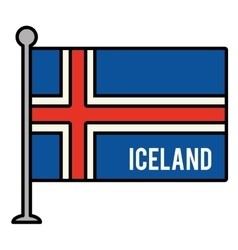 iceland patriotic flag isolated icon vector image vector image