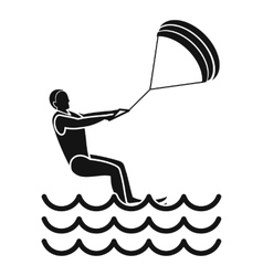 man takes part at kitesurfing icon simple style vector image vector image