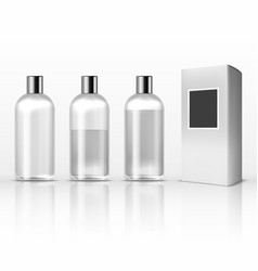 cosmetic clear plastic bottles empty transparent vector image