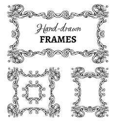 Set of vintage ornate frames vector