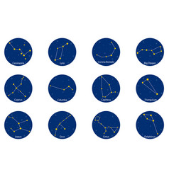 Constellations on blue round background vector