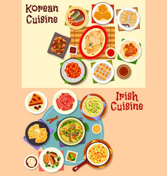 korean and irish cuisine dinner icon set design vector image vector image