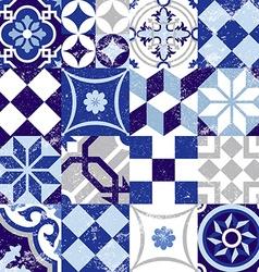 Seamless pattern vintage blue tile decoration vector image vector image