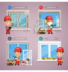 Window Installation Step by Step with Handyman vector image